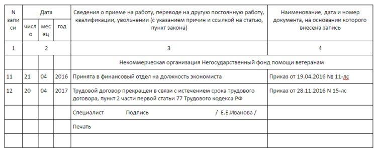 Изображение - Работник принят на время отпуска основного работника trudovaya_knizhka_zapis_ob_uvolnenii_po_srochnomu_1_10111908-750x304