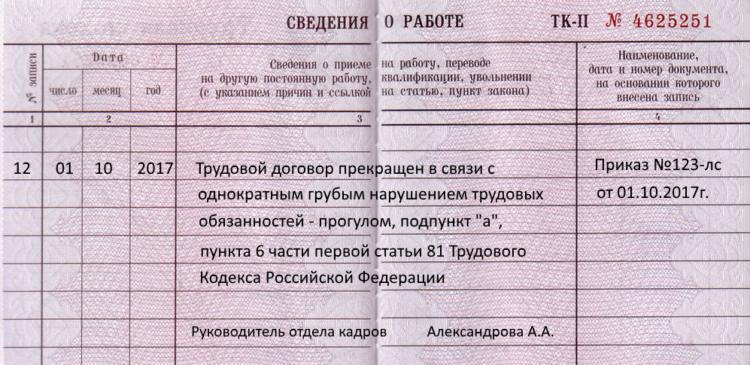 Какова процедура и порядок увольнения за прогул по статье ТК РФ